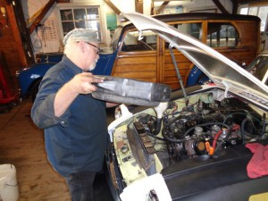Butch adds coolant to an MGB