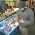 Patrick examines engine bearings